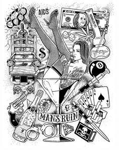 Mike Giant illustration mans ruin
