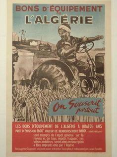 Jacques BLEIN XXème BONS D'EQUIPEMENT DE L'ALGERIE, 1950 Affiche lithographique,