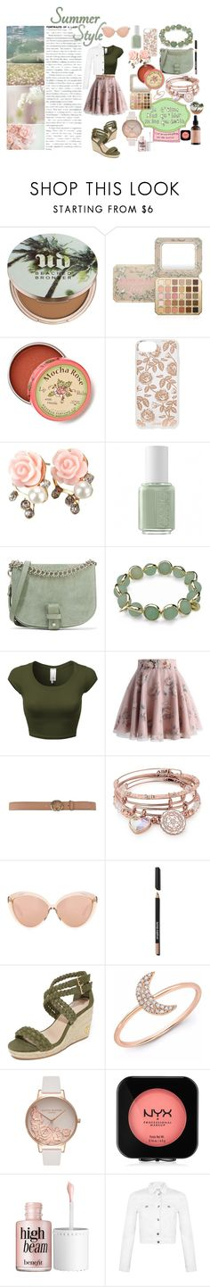 """""""Blushing Rose"""" by madelineharr ❤ liked on Polyvore featuring Urban Decay, Too Faced Cosmetics, Anthropologie, Sonix, Essie, Little Liffner, Maggy London, Chicwish, Gucci and Alex and Ani"""