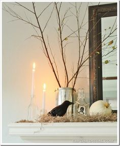 ~ Halloween Mantel Idea: Halloween Mantel Idea ~ enjoy this pin and more @ https://www.pinterest.com/PinsByBecky/