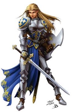 Paladin in full plate with her +5 Defender.  Code of Conduct: A paladin must be of lawful good alignment and loses all class abilities if she ever willingly commits an evil act. Additionally, a paladin's code requires that she respect legitimate authority, act with honor (not lying, not cheating, not using poison, and so forth), help those in need (provided they do not use the help for evil or chaotic ends), and punish those who harm or threaten innocents.