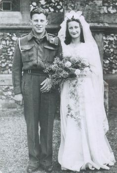 <3 Vintage Weddings [Wedding picture of Joyce and Arthur Paynter, on July 31, 1943 in Sutton, Surrey.]