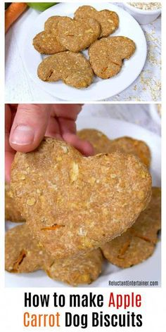 How to make Apple Carrot Dog Biscuits is an easy recipe. Homemade dog biscuits are the perfect hostess gift or stocking stuffer for your dog-loving friends. Dog Biscuit Recipes, Dog Treat Recipes, Dog Food Recipes, Dog Biscuit Recipe Easy, Recipe For Dog Biscuits, Dog Cookie Recipes, Meatless Recipes, Fast Recipes, Food Tips