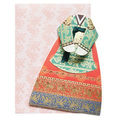 Cute hanbok card for birthday, anniversary. Unique gift ideas. Korean stationary design.    http://www.morecozy.com