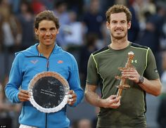 Heatbroken for Rafa, losing the Madrid Open (clay), but so happy for Murray.  May 2015 Andy smiles for the assembled cameras with his opponent Nadal having won his first ever clay court Masters 1000 title on Sunday