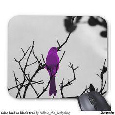 Lilac bird on black tree mouse pad
