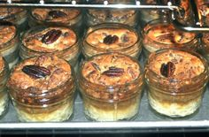 Individual pecan pies in tiny mason jars - perfect for cocktail parties