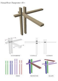 """Nœud Bois Charpente """"H"""" Timber Architecture, Parametric Architecture, Architecture Details, Japanese Joinery, Wood Joints, Wood Structure, Wood Detail, Wood Design, Thesis"""