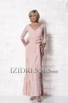 Sheath/Column V-neck Chiffon Mother of the Bride Dress - IZIDRESSES.COM at IZIDRESSES.com