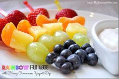 Rainbow Fruit Kabobs with Honey Cinnamon Yogurt Dip - The Seasoned Mom #stpatricksday