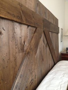 Barn door wood head board queen size by ThemTwoBirds on Etsy, $350.00