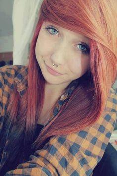 Scene hair, piercing, gorgeous eyes :)