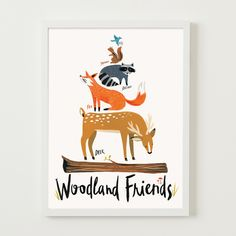 """A compliment to our """"Ferocious Beasts"""" and """"Sea-Worthy Pals"""" prints, this version features creatures of the more cuddly variety. Forest friends stack up tall in this whimsical art print. Perfect for children's rooms or classrooms, this standard sized print is ready-to-frame on arrival. Just use any off-the-shelf 11"""" x 14"""" (or) 8"""" x 10"""" frame or mat from your local home store.  • White Wove Cover Stock • 11"""" x 14"""", or 8"""" x 10"""" • Packaged flat in print sleeve with backing board"""