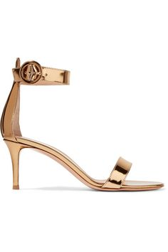 Gianvito Rossi - Portofino Metallic Leather Sandals - Gold - IT36.5