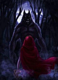 Little Red meets her wolf Red Riding Hood Wolf, Little Red Ridding Hood, Fantasy Creatures, Mythical Creatures, Dark Fantasy, Fantasy Art, Comic Collage, Werewolf Art, Vampires And Werewolves