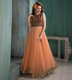 $157.30 Peach Net Floor Length Anarkali Suit 57295