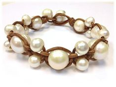SALE Leather and Pearl Jewelry Leather Bracelet by AdiDesigns