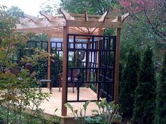 pergola at corner of patio Fire Pit Pergola, Pergola Swing, Outdoor Pergola, Pergola Shade, Gazebo, Pergola Ideas, Pergolas For Sale, Corner Pergola, Landscape Materials