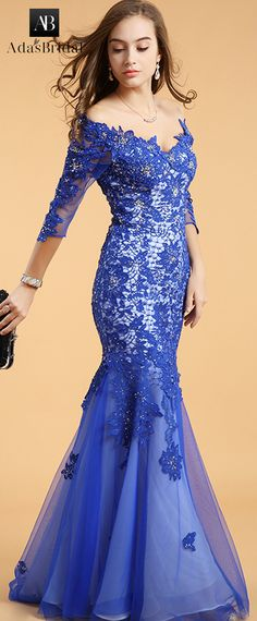 In Stock Charming Lace & Chiffon Off-the-shoulder Neckline Floor Length Mermaid Prom Dress
