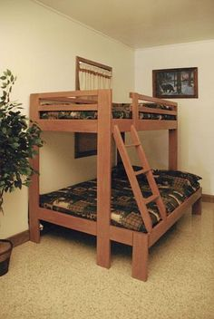 Amish Single Over Double Bunk Bed - Stained Furniture
