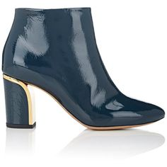 Chloé Women's Patent Leather Ankle Boots (8 405 ZAR) ❤ liked on Polyvore featuring shoes, boots, ankle booties, ankle boots, navy, navy blue booties, patent leather boots, short boots and high heel bootie