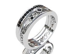engagement ring set Filigree ring black by TorkkeliJewellery