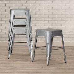 "Trent Austin Design Peyton 18"" Bar Stool (Set of 4) Finish: Silver"