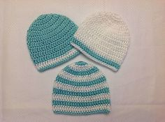 Newborn Baby Boy RobbinEgg Blue White Crochet Beanie Hat Shower GiftSet Handmade