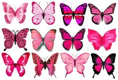 12 Pink Butterflies Edible Rice/Wafer Paper Cupcake/Cake Topper