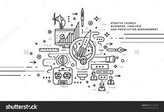 Flat Style, Thin Line Art Design. Set Of Application Development, Web Site Coding, Information And Mobile Technologies Vector Icons And Elements. Modern Concept Vectors Collection - 372183430 : Shutterstock