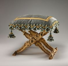 Folding stool (Pliant)  Date: ca. 1735–40 Culture: French (Paris) Medium: Carved and gilded walnut, silk velvet with gold