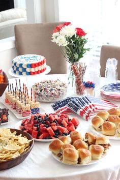 Well, now that Memorial Day and July 4th are finally approaching, I'm going to share the pictures from the America party to give everyone some ideas if you want to plan your own party. The day was full of our favorite American foods and all kinds of red, white and blue.