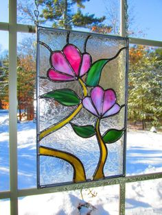 Pink+Flower+Stained+Glass+by+StayCsStainedGlass+on+Etsy,+$75.00