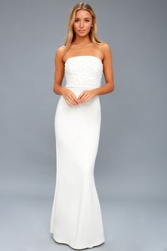Dance the night away in the Blair White Pearl Strapless Maxi Dress! Stretch woven fabric falls from the strapless, pearl adorned, princess bodice. Wedding Dresses Under 100, Maxi Dress Wedding, Stunning Wedding Dresses, Cute White Dress, Little White Dresses, White Maxi Dresses, Formal Gowns, Strapless Dress Formal, Strapless Maxi