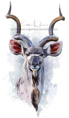 Kudu by Kajenna on DeviantArt Animal Stencil, Watercolor Animals, Watercolour, Dark Fantasy Art, Mundo Animal, Cute Birds, African Animals, Wildlife Art, Acrylic Art