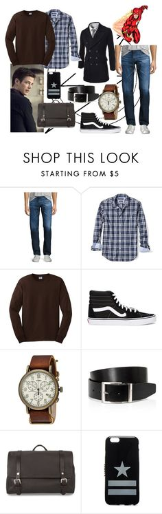 """""""Barry Allen"""" by ryeannsteinhoff ❤ liked on Polyvore featuring AG Adriano Goldschmied, Banana Republic, Gildan, Vans, Timex, HUGO, Santoni, Givenchy, men's fashion and menswear"""