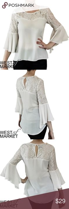 -NEW ARRIVAL- Lace Bell Sleeve Top Beautiful white top with sweetheart-look neckline. Lace on neck & shoulders. Three-quarter length bell sleeves. Tops Blouses