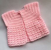 I wanted to make a small cardigan / jacket for either a boy or girl. I need something that didn't need much thinking about, just hook and go. I used Stylecraft Special DK, but any soft baby DK will be ok. I have made a few now and used various different yarns and each time the finished cardigan is either slightly smaller or larger than the initial ones I made. If you wish you could use 4ply and 3.5mm hook which will give you a smaller cardigan or 4.5mm and DK to give you a large cardigan…