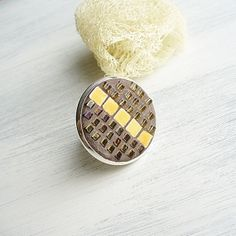 Yellow Brown Round Mosaic Adjustable Ring  RG by StudioLadybird, $34.79
