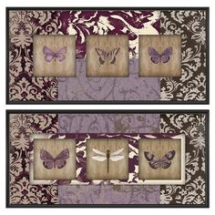 Set of 2 butterfly-themed canvas prints.  Product: 2-Piece canvas printConstruction Material: Linen canvas and w...