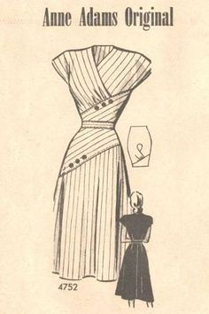 Skirt pattern vintage buttons ideas for 2019 40s Mode, Retro Mode, Vintage Mode, Vintage Outfits, Vintage Dresses, Nice Dresses, 1950s Dresses, Flattering Dresses, Vintage Clothing