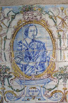 JOÃO V – Painel de azulejos no Jardim do Palácio Galveias, Lisboa.
