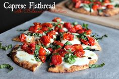 Roasted Tomato Caprese Flatbread topped with a sweet Balsamic Reduction #caprese #flatbread #pizza by Joyful Healthy Eats