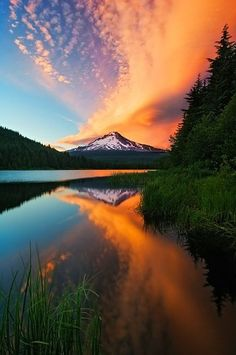 Oregon fiery sunset
