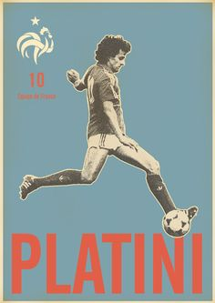 Michel Platini - soccer, football poster - by Zoran Lucić Art Football, Soccer Art, Soccer Poster, Football Is Life, Football Design, Retro Football, World Football, Vintage Football, Michel Platini