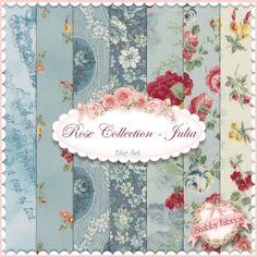"Rose Collection Julia  7 FQ Set - Blue By Quilt Gate: Rose Collection Julia is a collection by Quilt Gate.  100% cotton. This set contains 7 fat quarters, each measuring approximately 18"" x 21""."