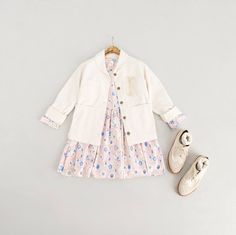 Spring Flower Baby Doll Dress, Pink, Two Dot Point Glass, Ivory, Round Collar Cotton Jacket, Ivory and Lambs Wool Socks, Ivory