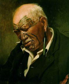 "C F Goldie painting of a New Zealand maori chief called Patara te Tuhi. This picture is called ""A Hot Day. Maori Face Tattoo, Ta Moko Tattoo, Maori Tattoos, Tattoo Art, Polynesian People, Polynesian Art, Maori People, Facial Tattoos, Piercings"
