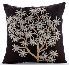 The Desert Life - 16x16 Zardosi & Jute Embroidered Brown Silk Throw Pillow