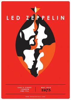 Led Zeppelin Poster Print - A4 Illustration Art Print Poster, Band Poster, Band Print, Jimmy Page, Robert Plant, Gig Poster, Gig Print,Rock